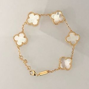 Jewelry - Mother of pearl clover bracelet yellow gold titan
